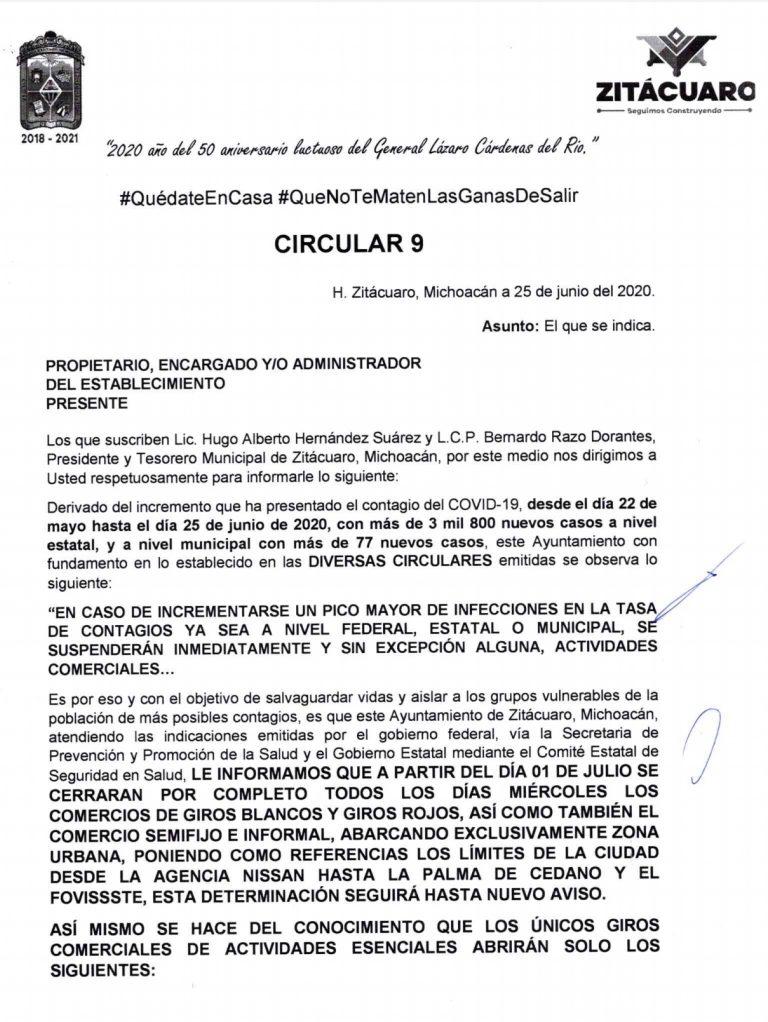 Emite Gobierno municipal, circular a prestadores de servicios para que suspendan actividades cada miércoles.