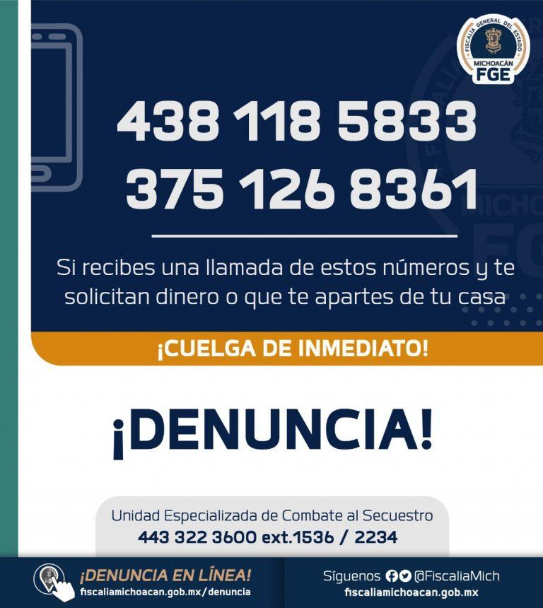 Localiza Fiscalía General a hombre víctima de extorsión virtual en Pátzcuaro.