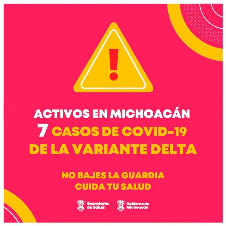 Activos, 7 casos de variante Delta de COVID-19 en Michoacán