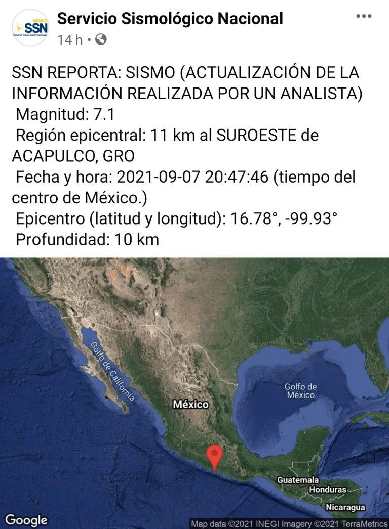 Hasta el momento se han registrado 210 réplicas del sismo de ayer de M 7.1.