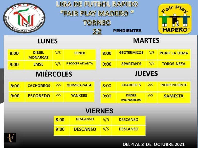 La Liga de Fútbol Rápido FairPlay Madero da a conocer los próximos encuentros